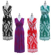 Women's Regular Paisley Sleeveless Full-Length Dresses