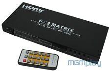 HDMI 1.4  Matrix Switch Splitter  6x2  3D  MHL  4Kx2K  FullHD 6 zu 2  Verteiler