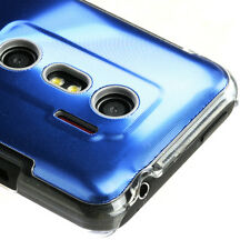 HTC EVO 3D SPRINT PCS SNAP-FIT BRUSHED ALUMINUM CASE BLUE