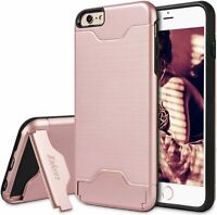 Apple iPhone 6/6S Case Dual Layer Shockproof Kickstand Card Slot Rose Gold