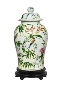 """Floral Porcelain Chinoiserie Bird Scene Temple Jar with Base 19"""""""