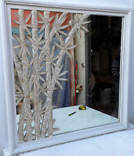 Mirror Wood With Rods Of Bamboo Carved CMS 82x82x5 Modern Made by Hand