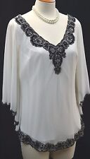 J Kara chiffon batwing Top evening Gown Bead Scalloped Top Blouse Ivory Black M