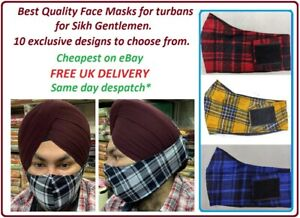 Punjabi Face Mask for Turban Sikh Turban Face Mask velkro closure face mask