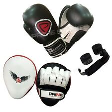 BOXING GLOVES SPARRING TRAINING PUNCH BAG REX LEATHER FOCUS PADS HAND WRAPS SET