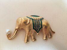 ELEPHANT - TRIFARI BROOCH - GOLD TONE with GREEN  ENAMEL