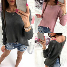 Womens Long Sleeve Back Zipper Knitted Sweater Casual Loose Pullover Jumper Tops