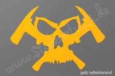 """Feuerwehr - Helm - Aufkleber """"Skull & Hatchet"""" in gelb reflektierend"""