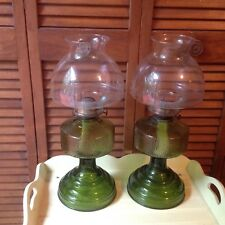 "New listing 2 Matching Kerosene Green Hurricane Depression Pressed Glass Lamp Chimneys 17"" T"