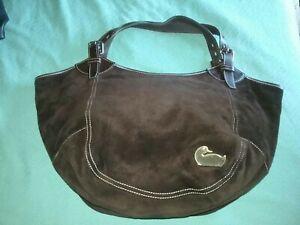 Dooney & Bourke Dark Chocolate Brown Suede Leather Valerie XL Hobo Tote Handbag