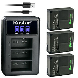 Kastar AHDBT-302 301 Battery 3-Pack + Triple USB Charger for GoPro HERO3 HERO3+