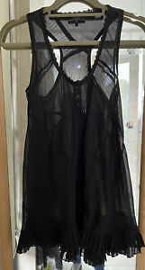 Stunning Women's GUESS SHEER BLACK BLOUSE TANK Top, Sz S 8 Excellent Condition