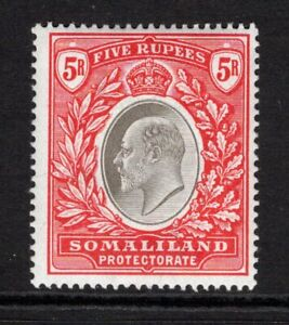 Somaliland Protectorate KEVII  1904  5r. Grey Black & Red SG44 M/Mint