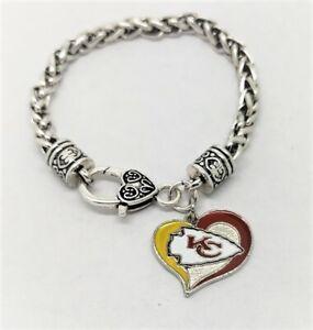 Kansas City Chiefs Football Heart Charm Dangle Women's Fashion Clasp Bracelet