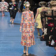Eden 2020 Mujer Cuello Alto Manga Larga Plisado Estampado Largo Medio Vestido