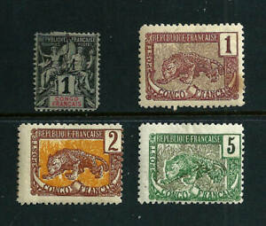4 Stamps - France Colonies Congo 1892-1900