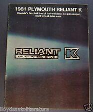 1981 Plymouth Reliant K Catalog Sales Brochure Nice Original 81 Canadian