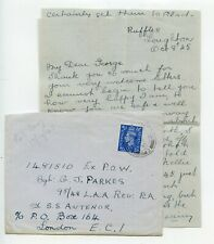 WWII 1945.10 to Sgt Parkes Ex POW on SS Antenor/ c/o Box 164 London EC1+ content
