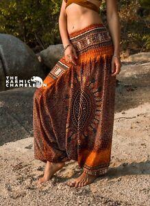 Harem Hippie Pants Burnt Orange Tribal Chakra Yoga Festival Aladdin Boho Gypsy