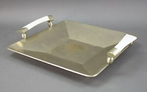"""Airedelsur Argentina Alpaca Silver Tray With Horn Handles 16"""" x 14"""""""