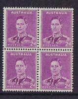 Australian Pre-Decimal Stamps 1941-44 2d Mauve KG V1 Die 11 Block 4 MNH