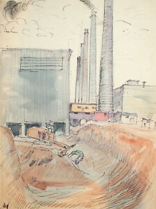 Vintage wc painting cityscape factory