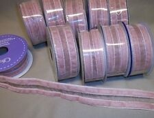 "10 rolls PINK VELVET SHEER CENTER RIBBON  1 1/8"" W  9 ft. P/R"
