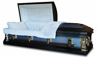 Overnight Caskets -  In God's Care Spruce Blue Light Blue Interior Coffin