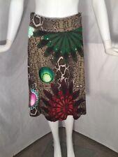 DESIGUAL Sz S Artsy Snake Floral Applique Skirt Embroidered Elastic Waist