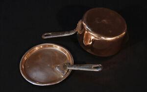 Casserole en cuivre et intérieur cuivre étamé, XIXème / Copper saucepan, tinned