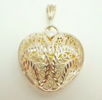 Sterling Silver 925 Diamond Cut 3D Filigree Puffy Heart Pendant