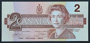 1986 Bank of Canada $2 Two Dollar Banknote - Thiessen/Crow - Crisp Uncirculated