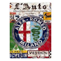 Alfa Romeo Vintage Retrò Garage Officina Metallo Muro Cartello Targa