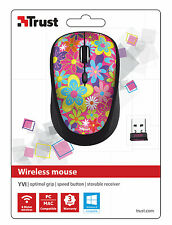 TRUST 20250 YVI FLOWER POWER WIRELESS MOUSE, SPEED BUTTON & STORABLE RECEIVER