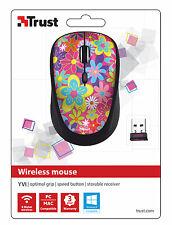 TRUST 20250 Yvi Flower Power Wireless Mouse, pulsante di velocità & Storable Ricevitore