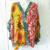New Umgee Top XL X Large Mustard Mixed Floral Scallop Sleeve Boho Peasant