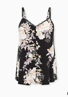 Torrid Black Floral Studio Knit Lace Trim Button Front Swing Cami Size 5x