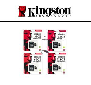 MICRO SD 8 16 32 64 128 GB scheda memoria Kingston Classe 10 microSD ORIGINALE