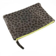 Clare Vivier Brown Pebble Stone Animal Print Neon Contrast Zipper Pouch Clutch