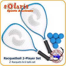 "Racquetball Beginner's Kit: 2x TURBO 21"" Aluminum Racquets + 6x Standard Balls"