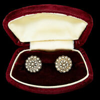 """Antique Vintage Art Deco Sterling Silver Plated Marcasite 0.58"""" Stud Earrings"""