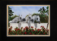 "Matted 3 Arabian Mares ""The Line Up"" Horse Art Print 8""x10"" Mat by Roby Baer PSA"