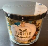Bath And Body Works Vanilla Pumpkin Marshmallow 3 Wick Candle 14.5oz