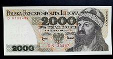 🍀🇵🇱 POLAND (P147a) 2000 Zloty 1977 UNCIRCULATED ( New ) Rare Ser. D