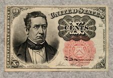 1874 Usa 10 Cents Fractional Currency Paper Money Bill Columbian Bank Note