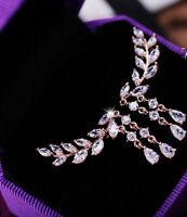 1Pair Fashion Women Crystal Rhinestone Ear Stud Leaves Tassel Earrings Jewelry