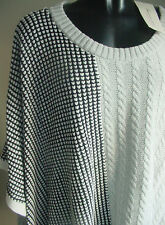 NWT $99 VINCE CAMUTO Grey Cable WAFFLE PONCHO Sweater- L/XL ( FITS up to 2X)