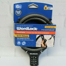 WorkLock Flexible Steel Bike Lock Cable One Hand Operation Quick Release 5Ft