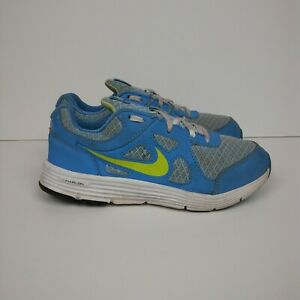 NIKE Lunar Forever Running Shoes White Lime Blue Youth Size 1