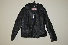 URBAN REPUBLIC FAUX LEATHER JACKET W/ REMOVABLE HOOD SIZE 12 ~ BLACK